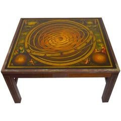 Brass Bound Coffee Table with Ptolemaic Astrological Map Surface