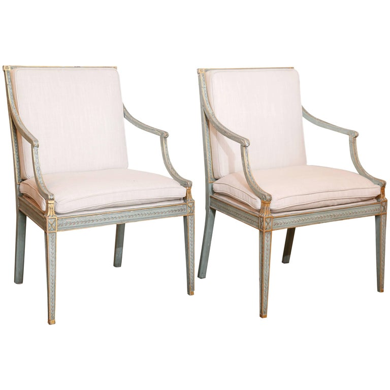 Pair of Painted Regency Armchairs