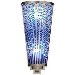 Art Deco Style Hand-Cut Cobalt Blue Crystal Wall Sconce by Cristal Benito