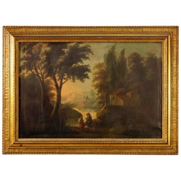 19th Century Spanish Landscape Painting Oil on Canvas For Sale