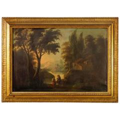 19th Century Spanish Landscape Painting Oil on Canvas