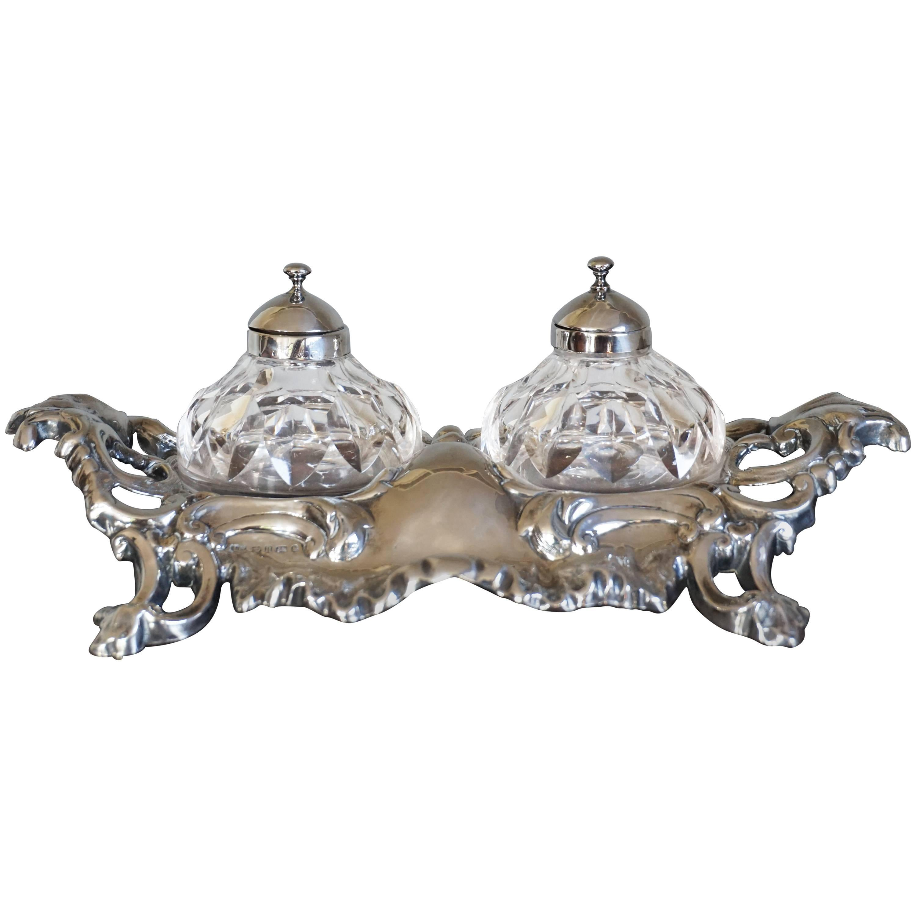 Antique Sterling Silver Rococo Style Inkstand with Crystal Glass Inkwells, 1859