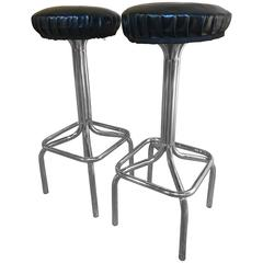 Original Mid-Century Modern Chrome High or Bar Stools, 1950s