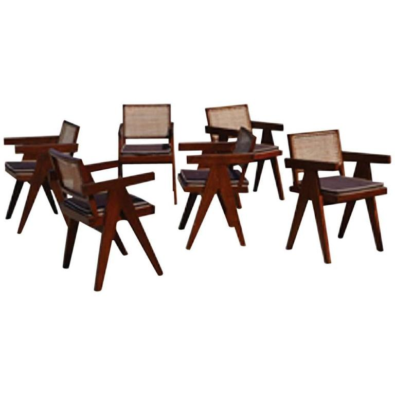 Pierre Jeanneret Teak Six Office Cane Armchairs for Chandigarh, India 1.950s For Sale