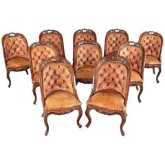 Set of Ten Mid-19th Century Button Back Mahogany Chairs
