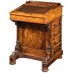 Mid-19th Century Walnut Davenport Desk, the Interior of Satin Timber