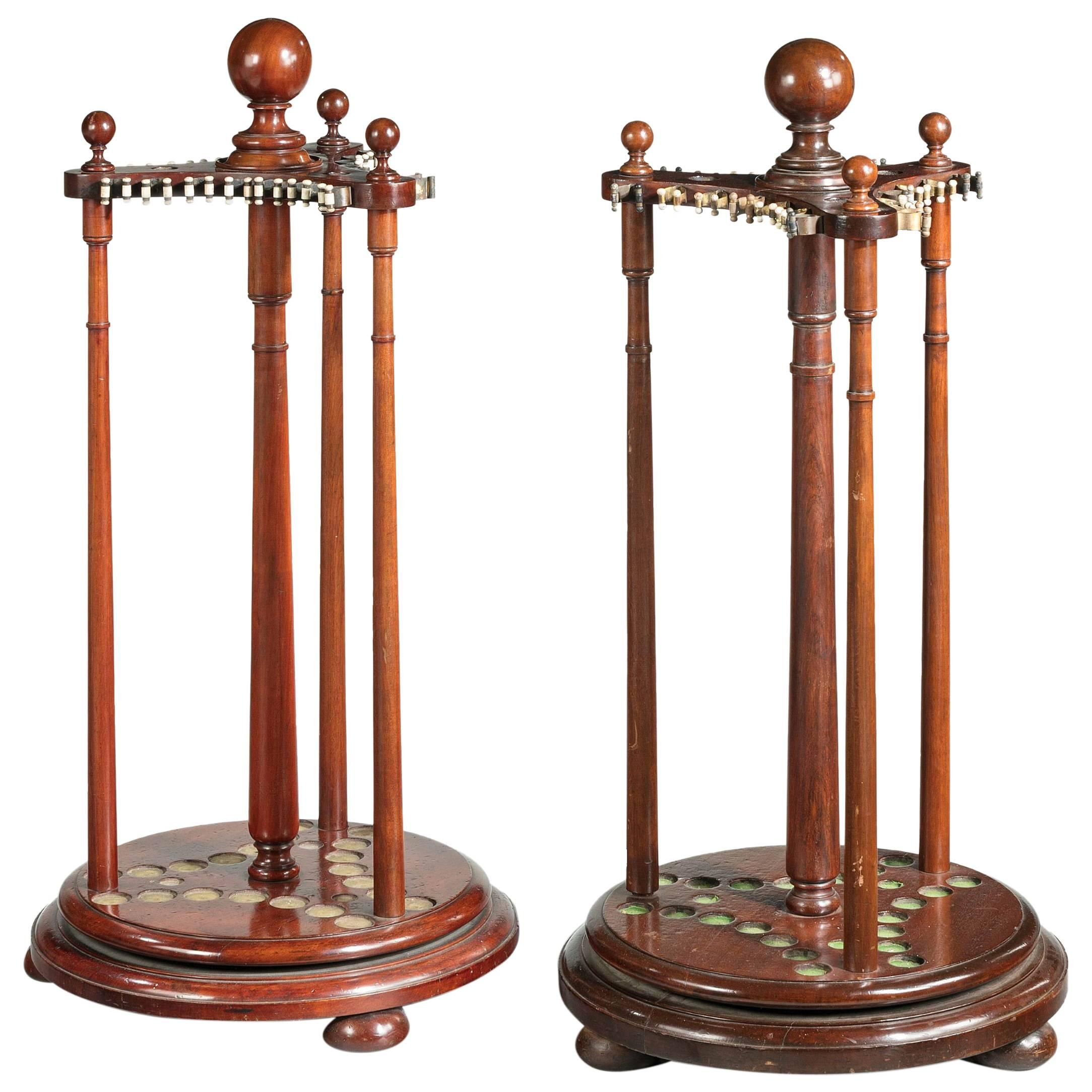 Pair of 19th century mahogany snooker or pool cue holders