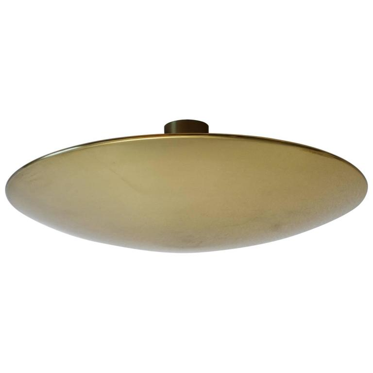 Large Solid Brass Wall or Ceiling Light Flush Mount by Florian Schulz, 1960s