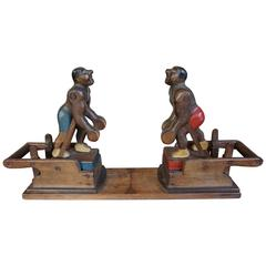 Early 20th Century Handcrafted Solid Wood and Manual Folk Art Boxing Game