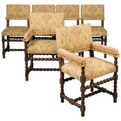 Set Of Six Antique Dining Chairs, Edwardian Jacobean Revival