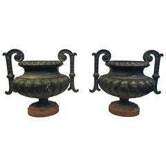 Pair of French Cast Iron Handled Urns, Signed Alfred Corneau