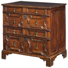 James II Period Chest of Drawers with Geometrically Panelled Front