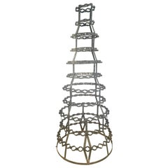 Enormous French Zinc Bottle Rack with Rare Form