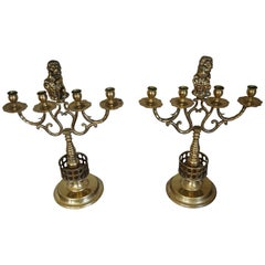 Large Pair of Brass Candelabras with Lions Holding the Coat of Arms of Amsterdam