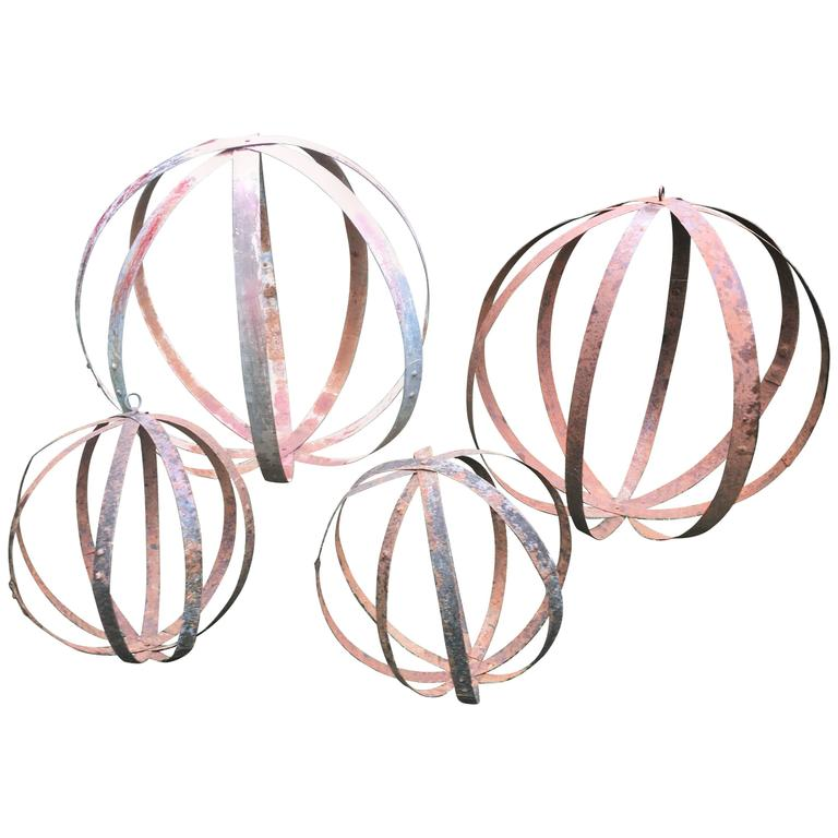 Four French Wrought Iron Balls From Wine Barrel Hoops For Sale At