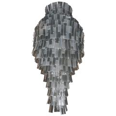 Spectacular Murano Chandelier with Listels in Grey Shades