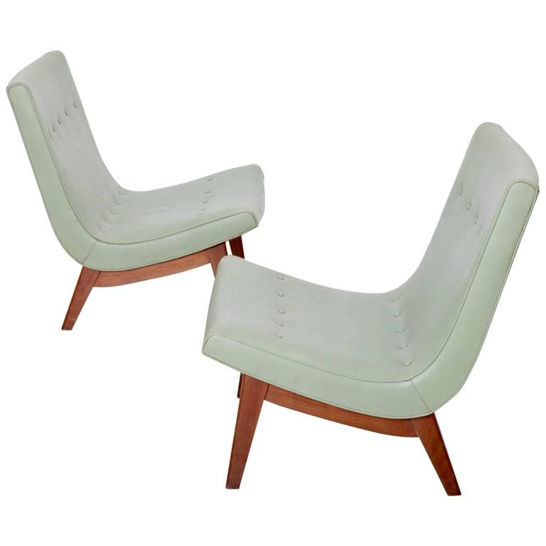 Original Pair of Milo Baughman Scoop Lounge Chairs USA , 1950s