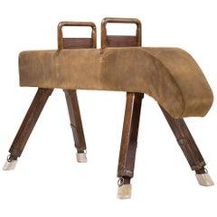 Vintage Suede Pommel Horse Gymnastic Bench