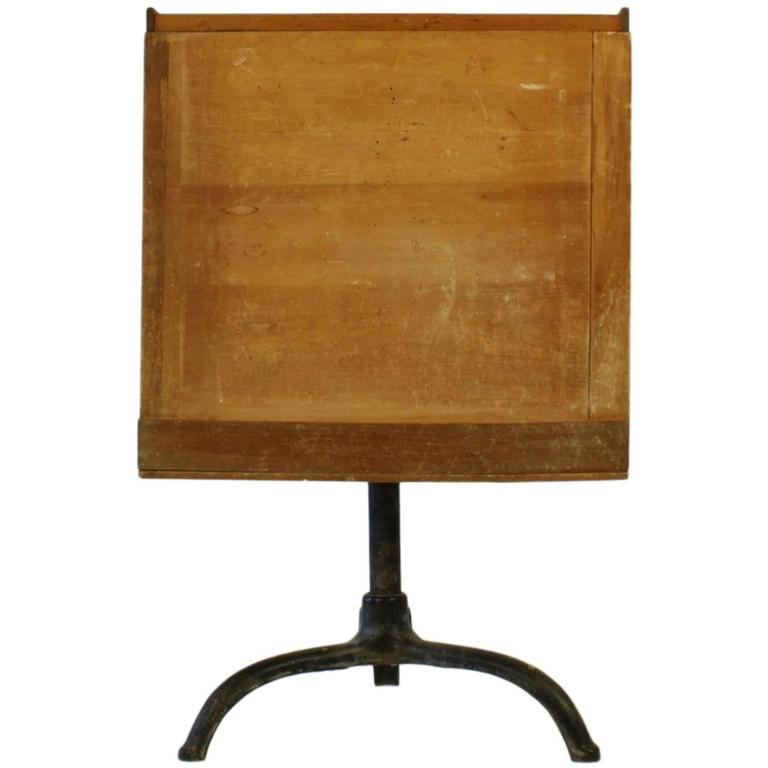 Painted Cast Iron & Scrubbed-Top Pine Working Artist's Easel Table, 20th Century