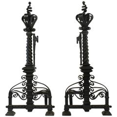 Pair of Very Large Arts & Crafts Wrought Iron Fireplace Andirons, 1880s-1900s