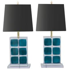 Pair of Blue and Clear Resin Lamps with Black Linen Drum Shades, Italy, 2017