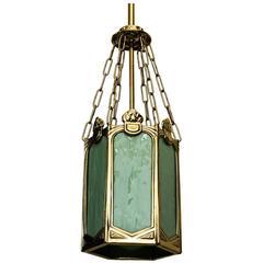 Beautiful Art Nouveau Pendant with Original Opaline Glasses, circa 1909s