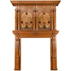 Jacobean Revival Inlaid Cedar Wood Fireplace
