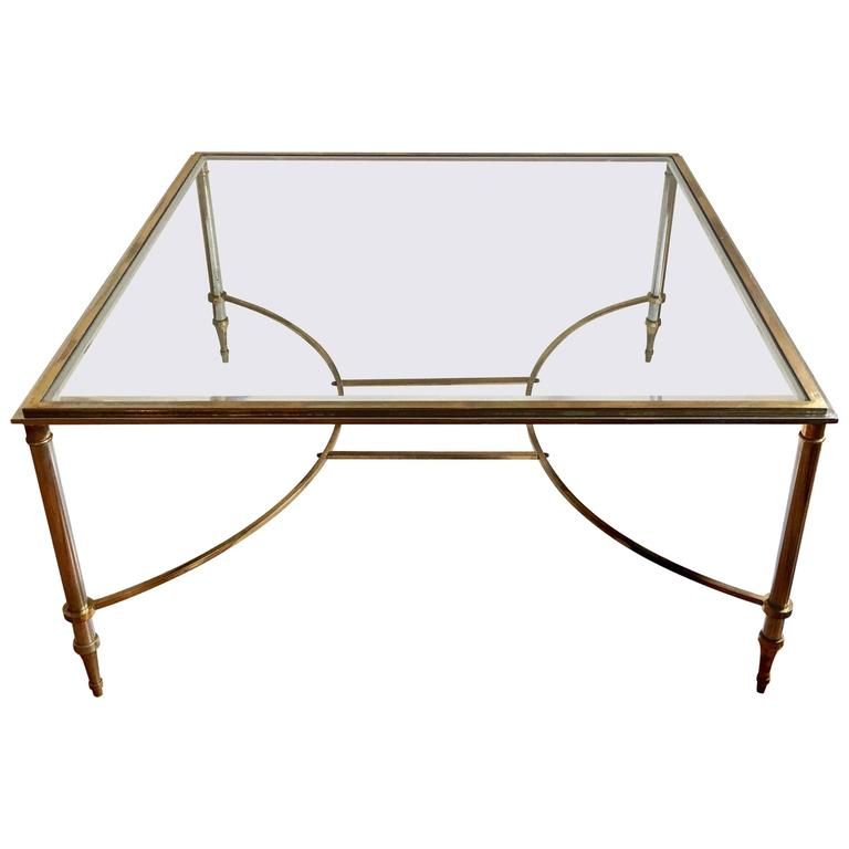Maison Jansen Style Metal and Glass Square Coffee Table, Spain