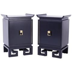 Mid-Century Pair of Black Lacquered Bedside Chests or Nightstands