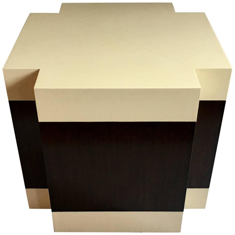 Art Deco Style Wood And Leather Wrapped Cube Accent Table For Sale