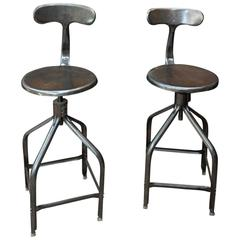 Adjustable High Stools Whale Tail Back by Nicolle, 1940s