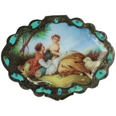 Antique Continental Hand Enameled Silver Compact with Countryside Scene