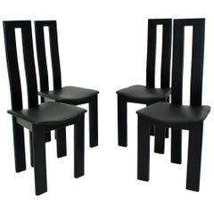Mid Century Modern Black Vintage Dining Chairs by Pietro Costantini 1970 Italy