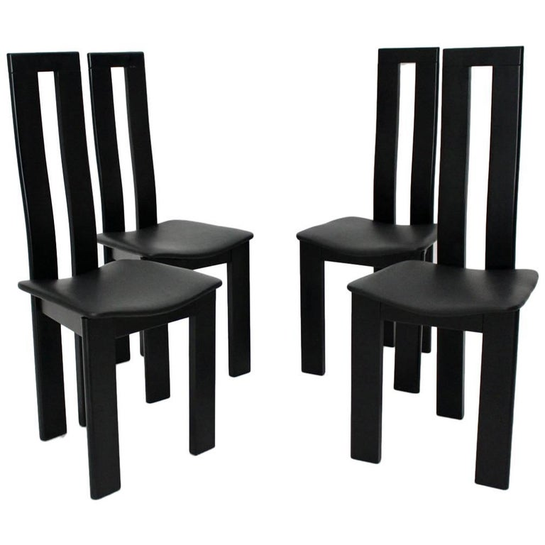 Mid Century Modern Black Vintage Dining Chairs By Pietro Costantini 1970 Italy For Sale At 1stdibs