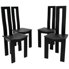 Black Dining Room Chairs by Pietro Costantini, 1970, Italy Set of Four