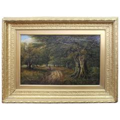 Fine 19th Century Forest Landscape Painting Oil on Canvas Signed K.E.F 1883