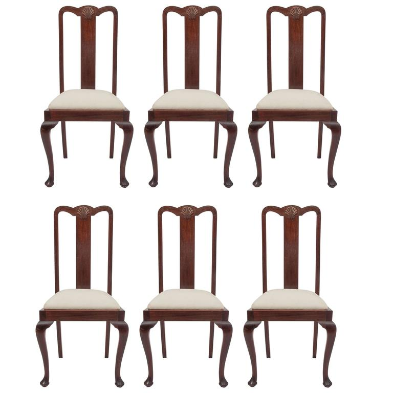 Six Mahogany Queen Anne Dining Chairs Unbelievable Price For