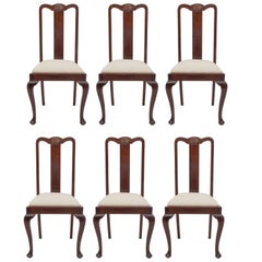 Mahogany Queen Anne Six Dining Chairs: Set with Two High Chairs