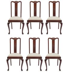 Six English  Mahogany Queen Anne Dining Chairs