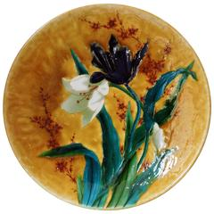Large Théodore Deck Circular Enameled Faience Platter, circa 1880