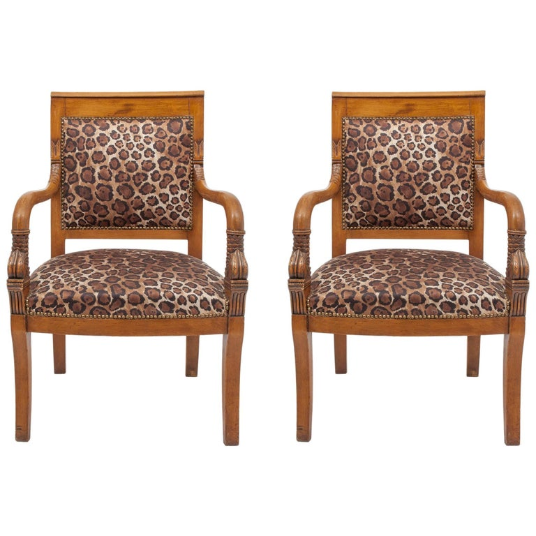 """Antique Empire High or ArmChairs, Pair, Covered in """"Leopard"""" Fabric"""