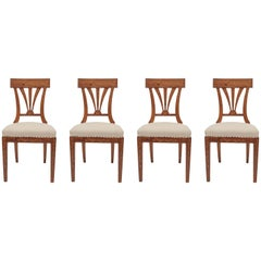 Elegant and Inlaid Austrian Biedermeier Chairs