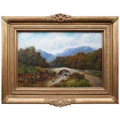 Edwardian Landscape signed A.Burton Oil on Canvas