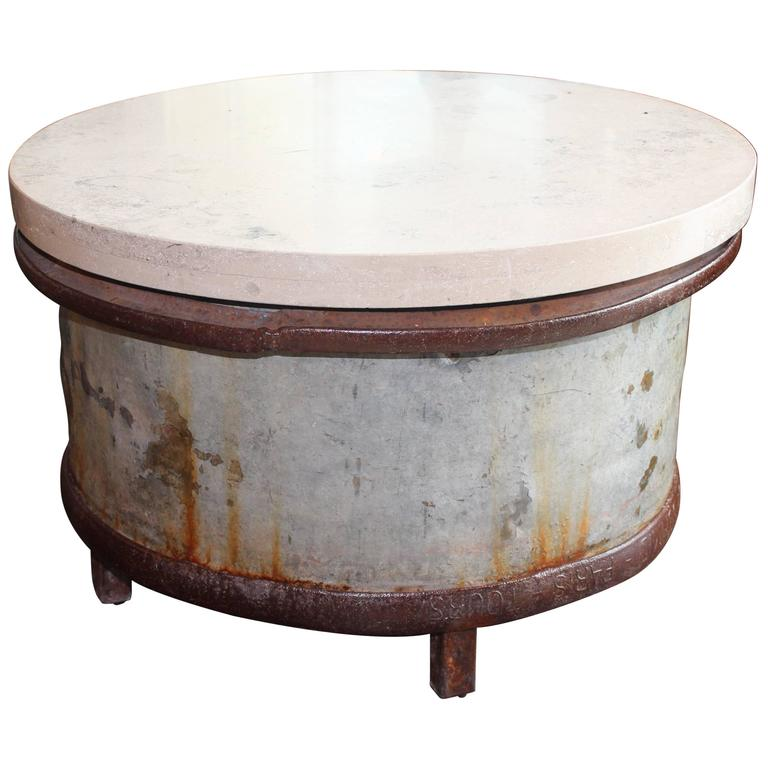 French Industrial Barrel End Table For Sale At 1stdibs