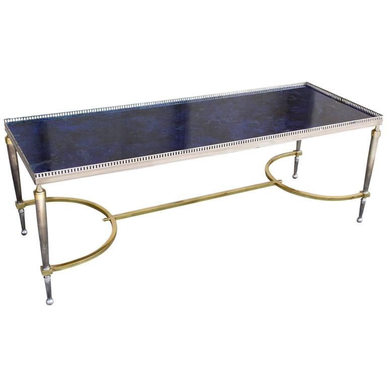 Faux Driftwood Coffee Table: Vintage Faux Blue Lapis Lazuli Painted Glass Top And
