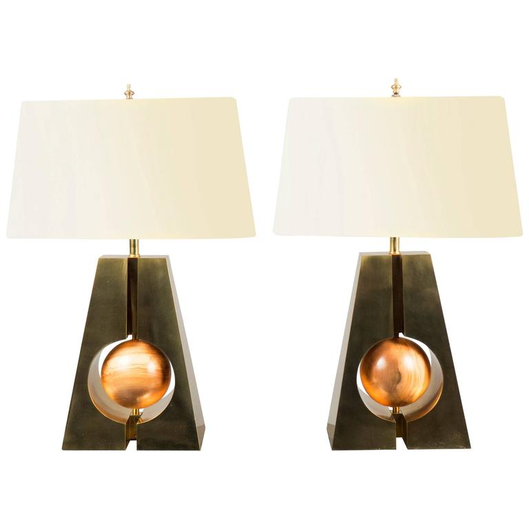 Pair of Brass and Wood Lamps, Italy, 2017
