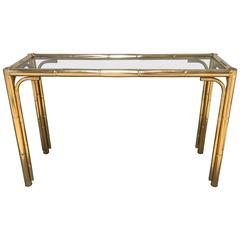 Italian Console Faux Bamboo Brass Finished with Smoked Glass Top from 1970s