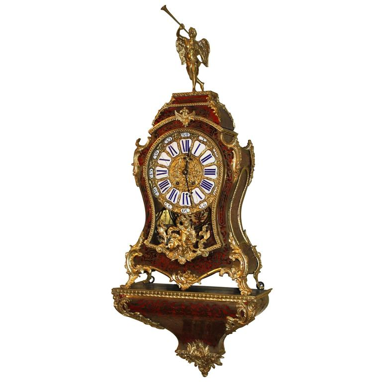 Louis XV French Boulle Bracket Clock with Cherub Top and Wall Bracket