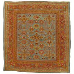 Oushak Carpet, Oriental Rug, Handmade Rug Turquoise, Saffron, Light Blue