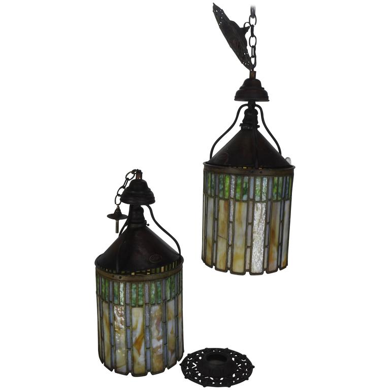 Charming I. P. Frink Stained Glass Hanging Light Fixtures For Sale